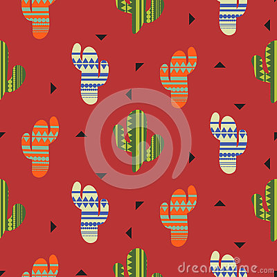Free Cactus Plant Vector Seamless Pattern. Mexican Style Color Cacti Textile Print. Stock Photos - 95588773