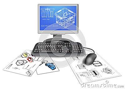 CAD van het product ontwerp op computer