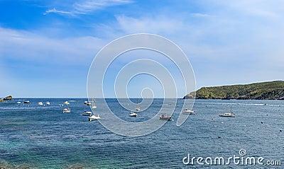 Blue sea and boats
