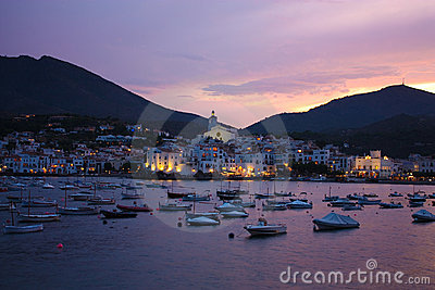 Cadaques sunset. Romanticism in Mediterranean Sea