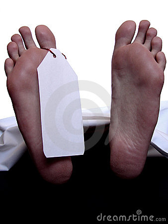 Cadaver with blank toe tag