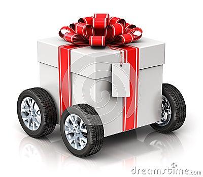 https://thumbs.dreamstime.com/x/cadeau-ou-bote-actuelle-avec-des-roues-de-voiture-82562863.jpg