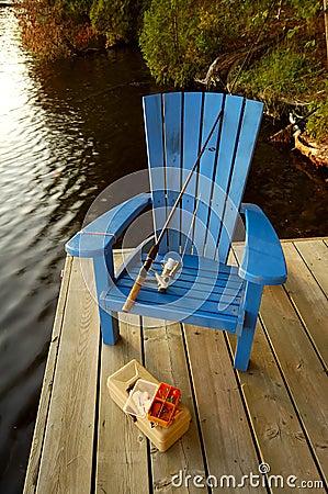 Cadeira da pesca na plataforma