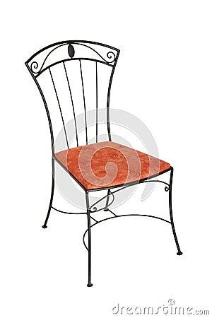Cadeira elegante do ferro fundido isolada no branco