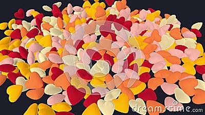Falling and piling up warm colorful hearts Animazione 3D Grafica 4K illustrazione di stock