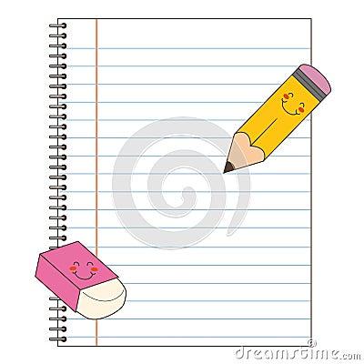 Prontas para escrever com l 225 pis e revis 227 o pendente de eraser eps
