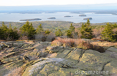 Cadillac Mountain sunset view of Bar Harbor