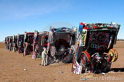 Cadillac Ranch near Amarillo, TX Editorial Photography