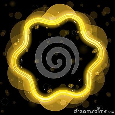 Cadre d or de conception avec des étincelles
