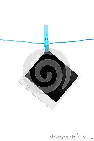 cadre de photo avec la pince linge photos stock image 32922083. Black Bedroom Furniture Sets. Home Design Ideas