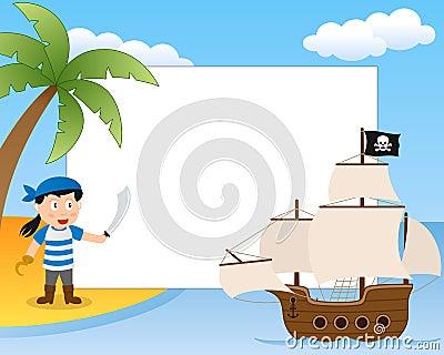 Cadre de photo de pirate et de bateau