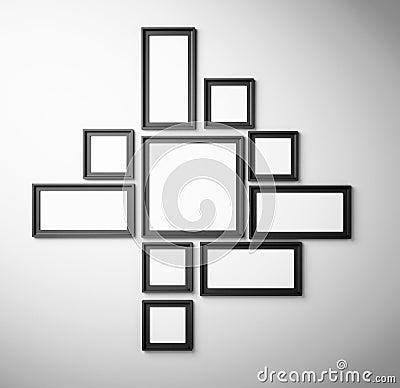 Cadre de tableau noir sur le mur blanc illustration stock - Tableau noir a accrocher au mur ...