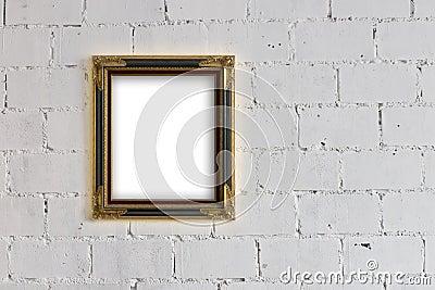 Cadre de tableau s 39 arr tant sur le mur blanc de bloc image - Tableau sur mur blanc ...