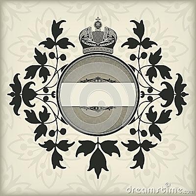 Cadre de vintage avec la couronne
