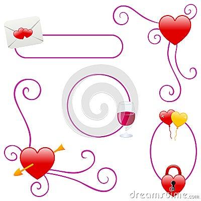 Cadres de jour ou d amour de Valentines