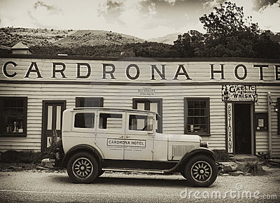 Cadrona Hotel, old car, New Zealand Editorial Image