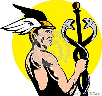 Caduceo griego de Hermes de dios