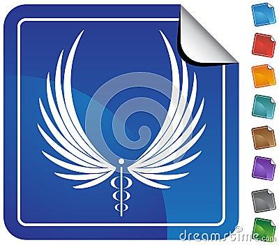 Caduceus Medical Symbol - Button