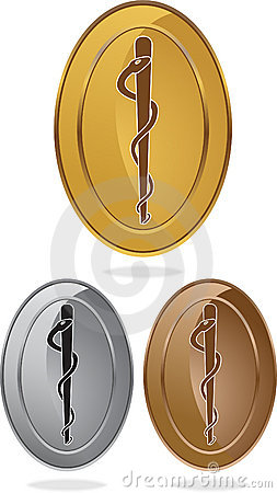 Caduceus Medical Symbol - Oval Single Snake