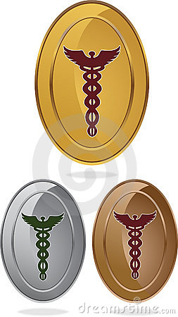 Caduceus Medical Symbol - Set of 3 Ovals