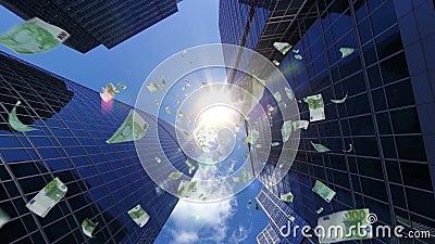 100 cadute delle banconote degli euro dal centro finanziario royalty illustrazione gratis