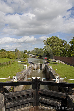 Longest flight of canal locks in England Stock Photo