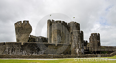 Caerphilly Castle in South Wales, UK