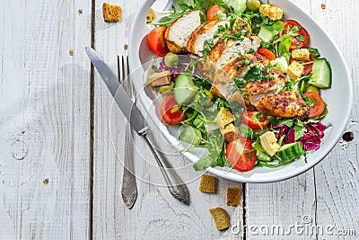 Caesar salad made with fresh vegetables