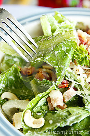 Free Caesar Salad With Fork Royalty Free Stock Photos - 15773058