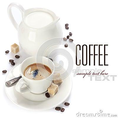 Café express et lait italiens