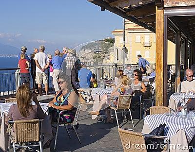 Cafe, Amalfi Coast, Italy Editorial Stock Photo