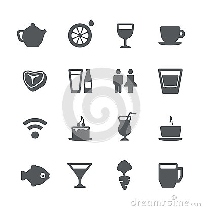 Free Cafe And Restaurant Simple Icons Set Stock Photography - 24813242