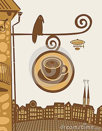 Cafe with bird