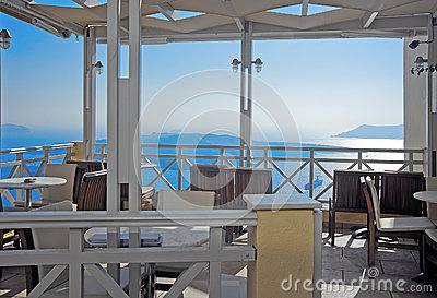 Cafe with caldera view on Santorini