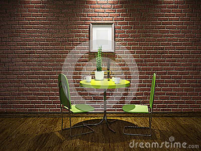 Cafe with green table