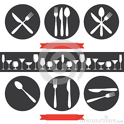 Free Cafe Icons Cutlery And Glasses Royalty Free Stock Image - 64031366