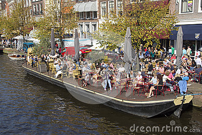 Cafe in Leiden, Holland Editorial Stock Photo