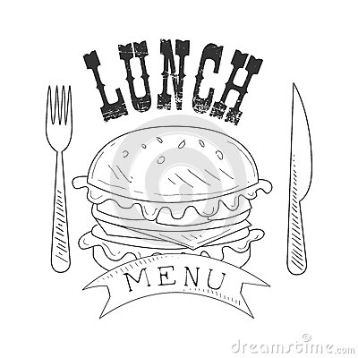 cafe lunch menu promo sign sketch style burger fork knife design label black white template monochrome hand drawn 87398349 cafe lunch menu promo sign in sketch style with burger, design on sandwich label template