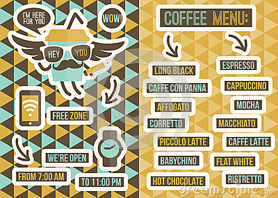 Cafe menu. Seamless backgrounds and design elements