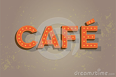 Cafe neon sign on old wall - coffee sign