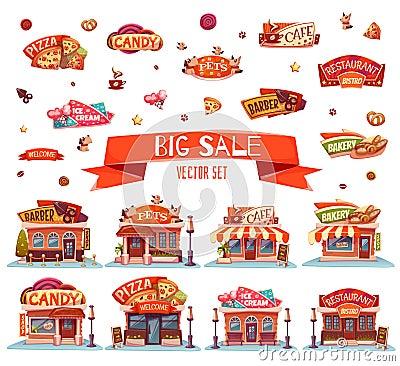 Free Cafe, Restaurant, Ice-cream Shop, Pizzeria And Bakery. Vector Set. Illustration Stock Photos - 65559473