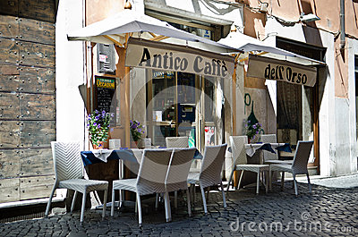 Cafe in Rome Editorial Stock Photo