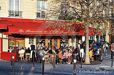 Cafe scene in Paris Editorial Stock Image