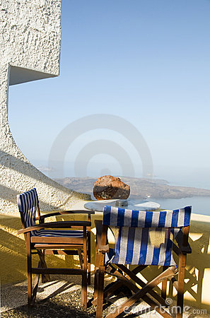 Cafe setting Santorini Greece volcanic island view