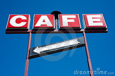 Cafe Sign with Arrow