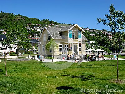 Cafe in Sogndal, Norway Editorial Photo
