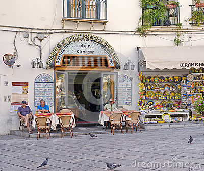 Cafe and Store, Ravello, Italy Editorial Photography