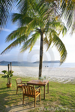Cafe table on beach