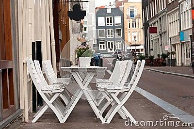Cafe table on a street