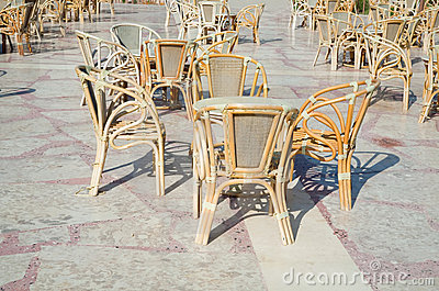 Cafe table and wicker chairs